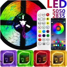 Светодиодная лента, водонепроницаемая лампа s, Bluetooth, Wi-Fi, RGB 5050 SMD 2835, светодиодный ночсветильник, светящийся для украшения комнаты