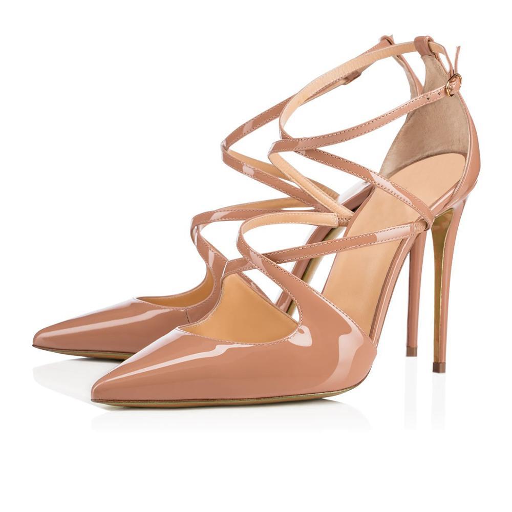 Lovirs feminino banquete casamento laca apontou saltos altos moda cruz cinta oco bombas vestido sapatos