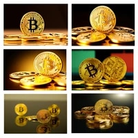 golden bitcoin money coin currency wall art poster and prints canvas painting picture for bedroom home decor bar club cuadros