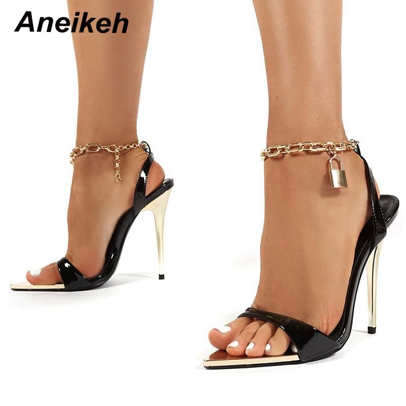 Aneikeh 2021 الصيف رقيقة عالية الكعب أحذية نسائية موضة مثير المعادن الديكور عبر تعادل الرجعية المرقعة رئيس اللمحة تو الصنادل