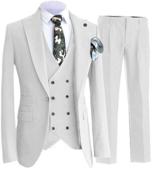 2021 مخصص الأبيض 3 قطع Terno يتأهل العريس البدلات الرسمية الدعاوى الزفاف للرجال العريس رفقاء العريس البدلات الرسمية رجل الزفاف الدعاوى