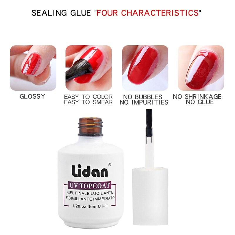 Lidan 15ml Sturdy bright No-clean Top Coat Nail Gel Transparent Color Nail Gel Long-lasting no wipe Seal Soak-off UT-11  - buy with discount