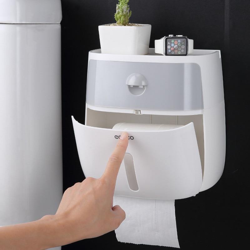 Waterproof Wall Mount Toilet Paper Holder Shelf for Toilet Paper Tray Roll Paper Towel Holder CaseTube Storage Box Tray Creative