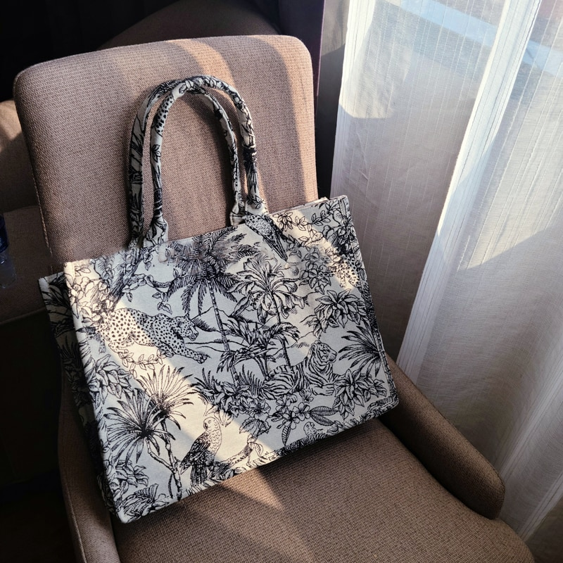 Luxury Designer Handbag for Women's Fashion Brand Designer Bag Jacquard Embroidery Female Girls Shopper Canvas Tote Shoulder Bag