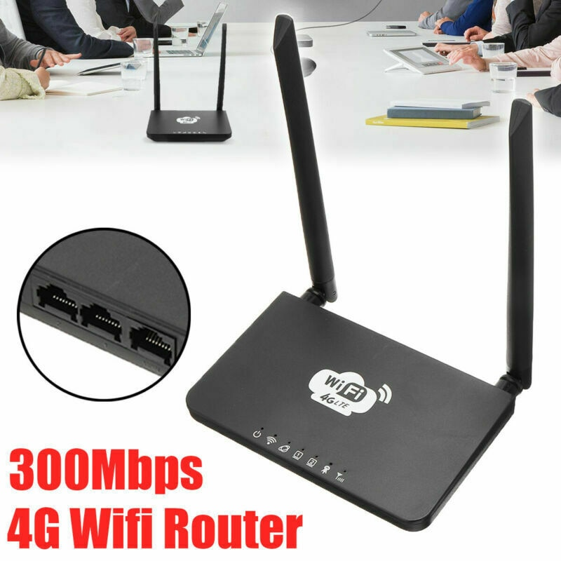 New Arrival 4G LTE Wireless Router 300Mbps CPE Double Antenna WiFi Hotspot/SIM Card Slot with EU Plug Power Adapter