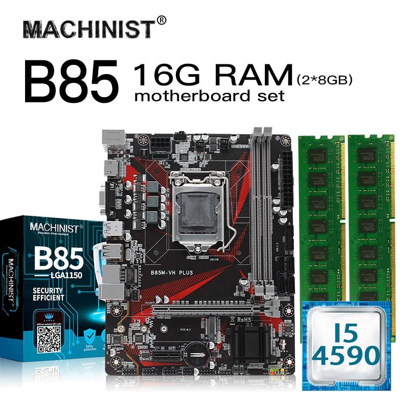 B85 LGA1150 desktop motherboard set kit with Intel I5-4590 processor 16G(2*8G) ddr3 ram memory Micro-ATX M.2 NVME SSD  USB3.0