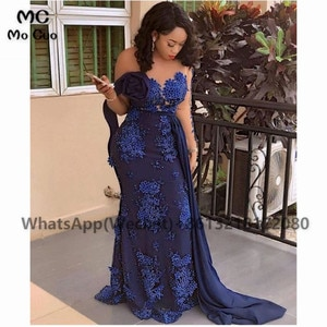 Dark Blue Elegant Mermaid Prom Evening Dresses Long Pearls Flowers Lace Up Back Women's Evening Gown Custom Made