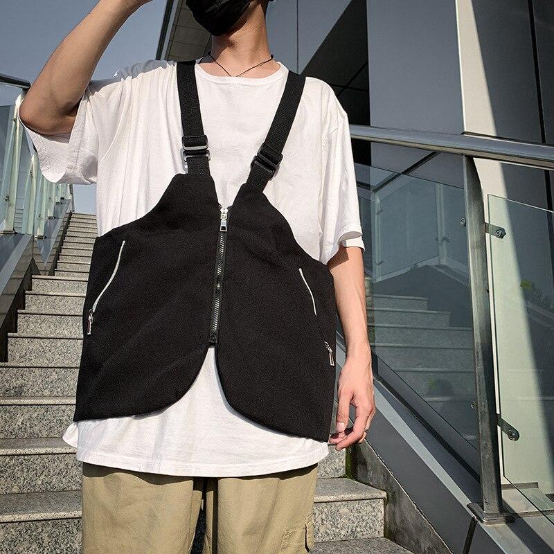 Saco peito Homens funcional Colete Coreia Do Estilo Harajuku Rua Grande Capacidade saco Do Mensageiro Saco Crossbody para As Mulheres Cotten Preto