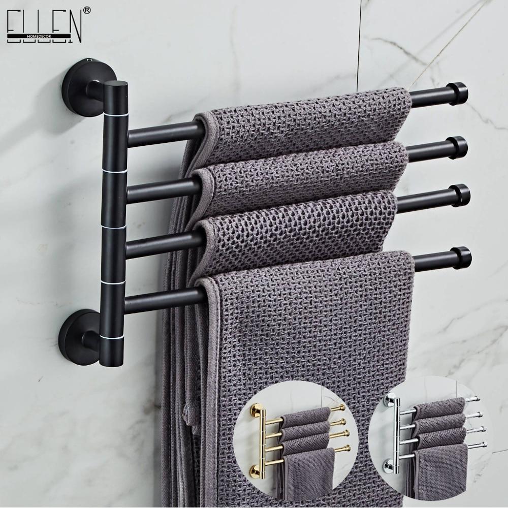 EL24DH-حامل مناشف حمام محمول من الكروم ، 4 طبقات ، أسود وذهبي