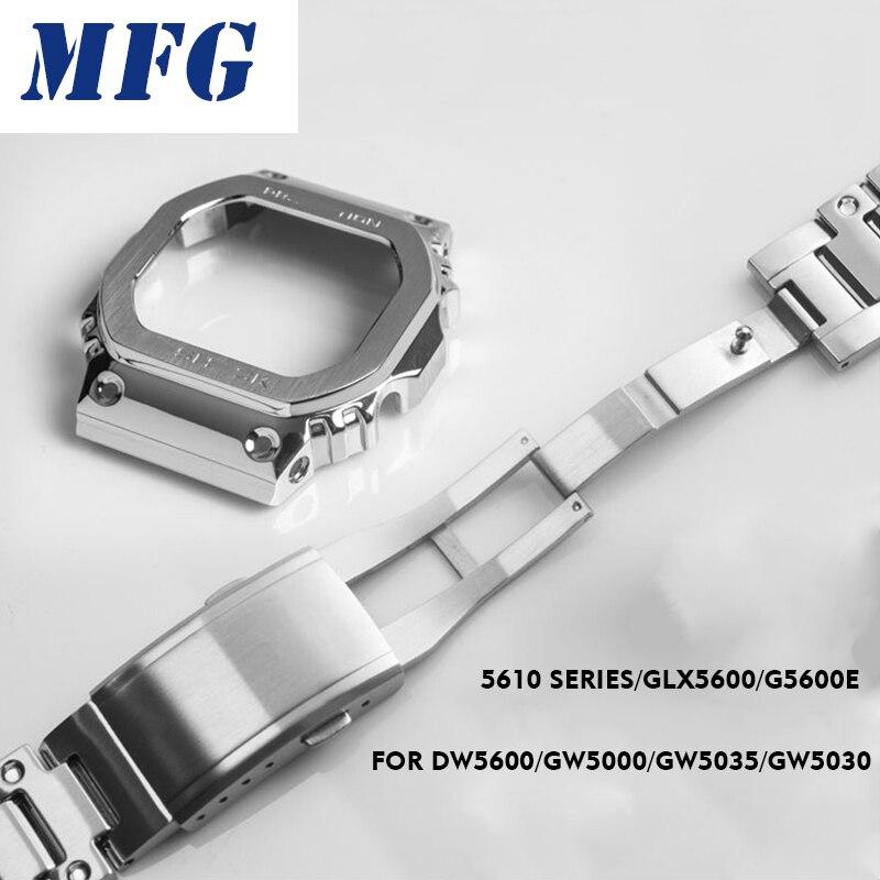Correa de reloj de Metal con bisel DW5600 GWM5610 GW5000, marco de reloj de camuflaje de acero inoxidable, accesorio de pulsera con herramienta de reparación