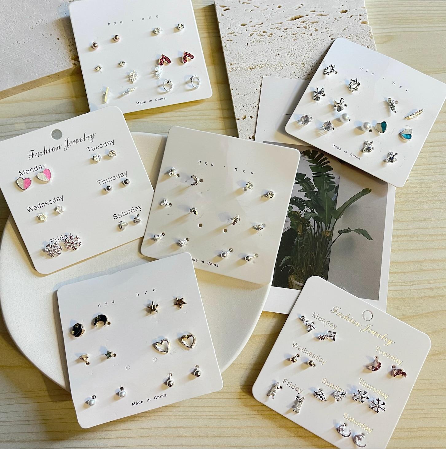 7Rings Trendy Style Week Cute Studs Earrings Set for Women Girl 7 PCs Set Jewelry Set Accessories Gi