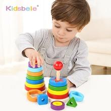 Bébé jouets en bois empilage anneau tour blocs éducatifs Stapelring jouets dapprentissage coloré formes multiples jouets tour arc-en-ciel