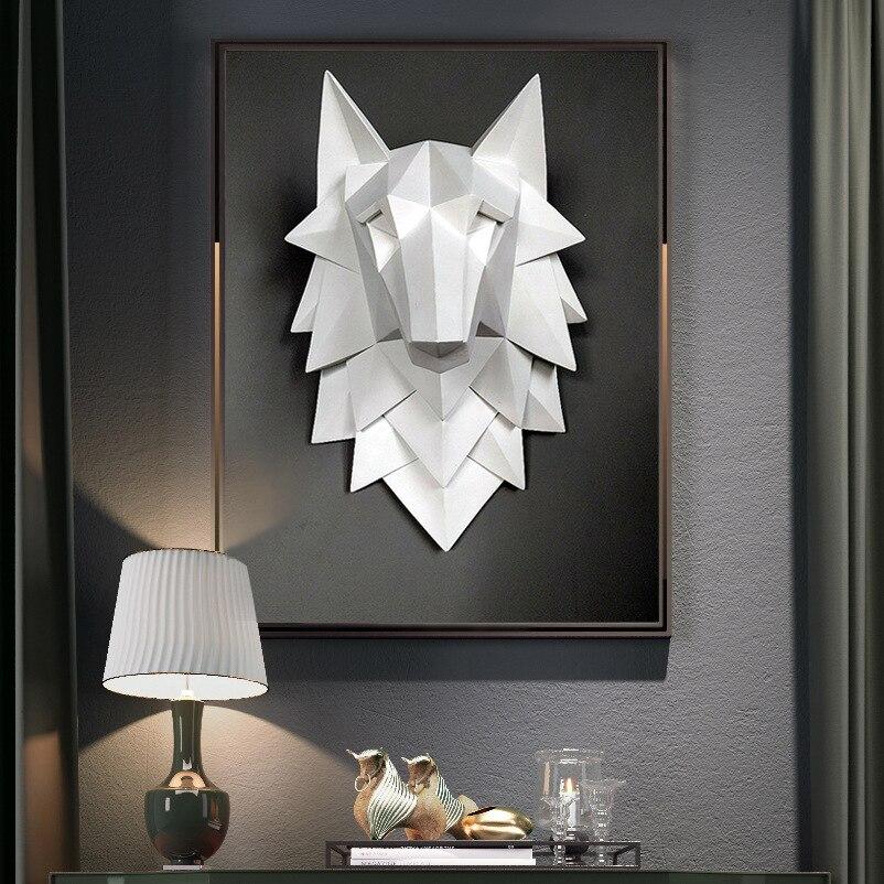 Escultura de cabeza de Lobo geométrica escandinava, decoración de pared del hogar, artesanías, sala de estar Mural para, Bar creativo, colgante de pared 3D