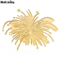 wulibaby stainless steel fireworks flower brooches for women unisex 2 color casual office brooch pin