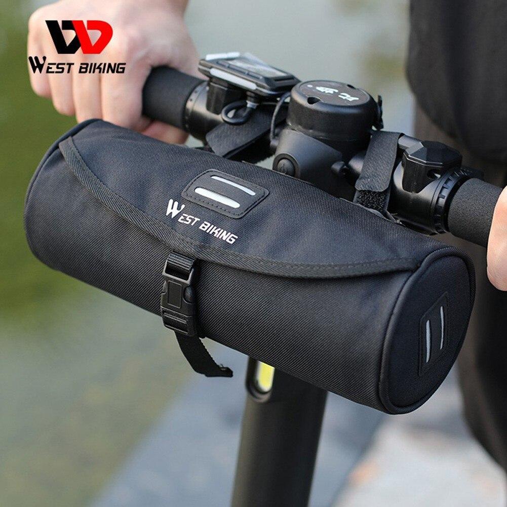 WEST BIKING Cylindrical Bicycle Handlerbar Bag 1.5L Bicycle Bag Waterproof Mountain Road Bike Handlebar Bag Cycling Equipment