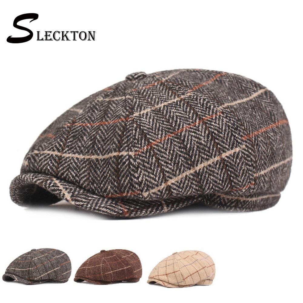 SLECKTON Tweed Hat Retro Plaid Men Berets Cap for Men's Casual Newsboy Caps Fashion czapka Winter Octagonal Hats cappello uomo