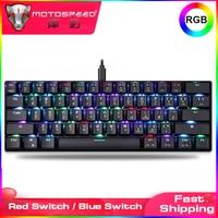 Игровая мини-клавиатура Motospeed CK61 RGB, механическая, 61 клавиша, USB Проводная светодиодный ная подсветка, портативная клавиатура 60% для ПК, компь...