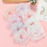 sweet printing flowers mesh scrunchies women romantic pink hair rope transparent tulle organza hair tie hair accessories fashion