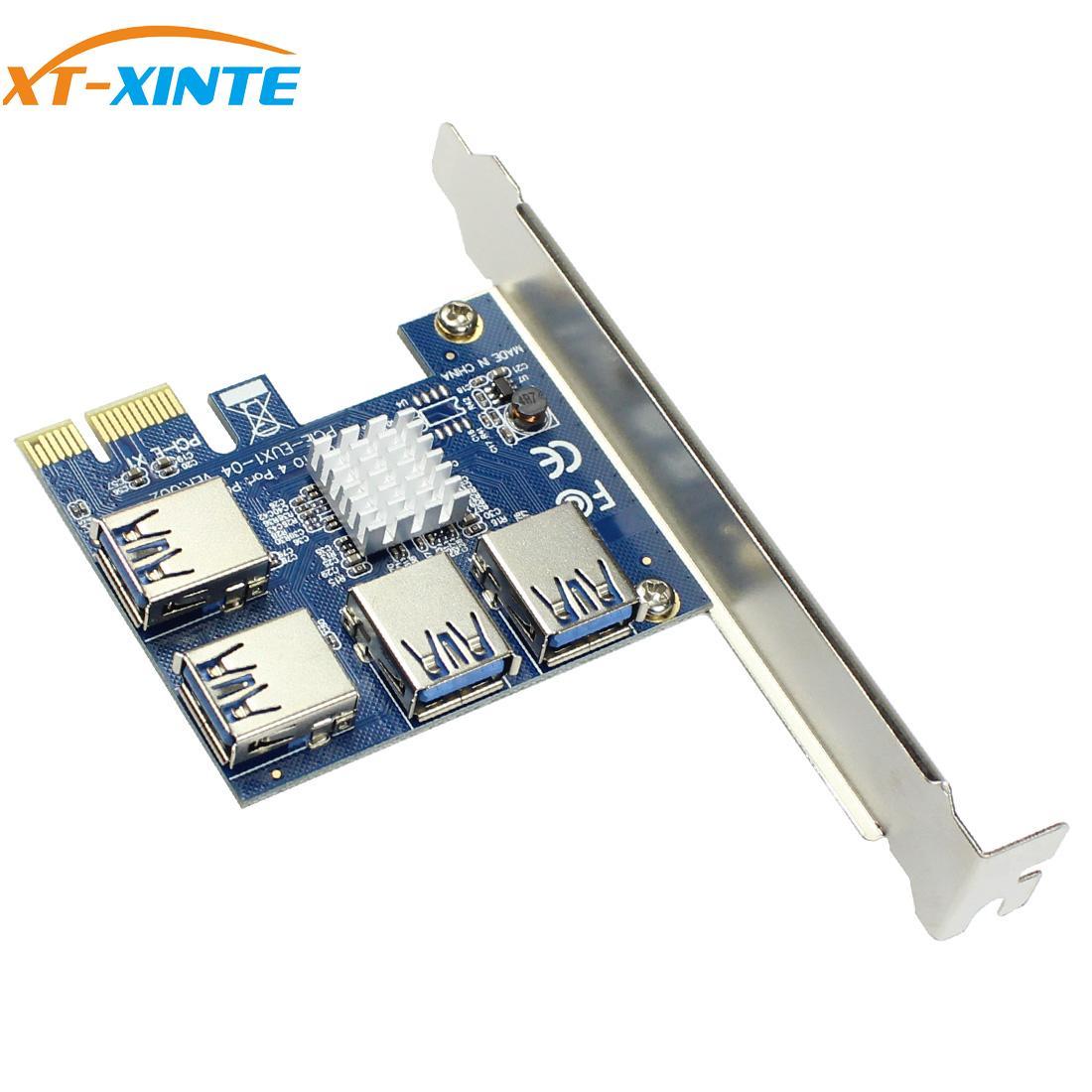 XT-XINTE PCI-E الناهض بطاقة USB بكيي ميناء المضاعف بطاقة PCI اكسبرس PCIe 1 إلى 4 PCI-E محول بطاقة ل BTC مينر آلة