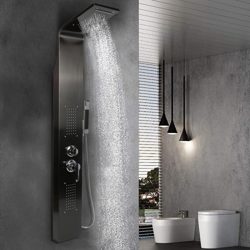 Светодиодная панель для душа, роскошный смеситель для душа в ванную комнату, светодиодсветодиодный панель для душа, колонка «Дождь», «Водоп...
