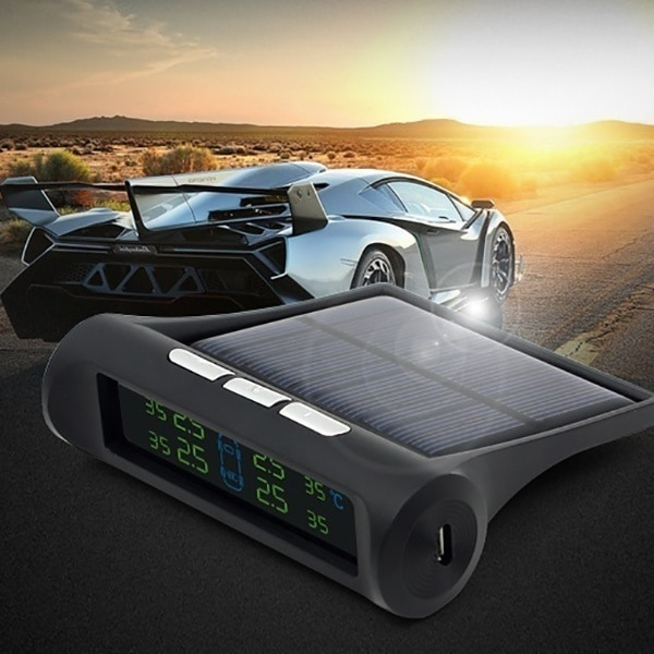 Smart Car TPMS Tyre Pressure Monitoring System Solar Power Digital LCD Display Auto Security Alarm S
