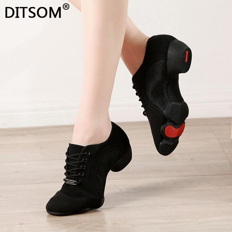 3Sections Rubber Soles Mesh and Cloth Upper Outdoor Wear Jazz Dance Sneakers Latin Dance Shoe Tango Salsa Shoes Men Women 31-46