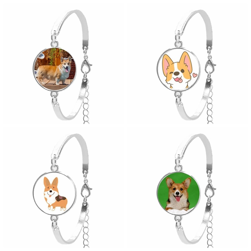 2019 New Ladies Bracelet Art Corgi Cute Animal Glass Convex Round Silver Chain Bracelet Daughter Gift Jewelry