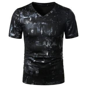 Black Bronzing Print T Shirt Men 2020 Brand New Slim Fit Short Sleeve Tshirt Men Hip Hop Streetwear Clothing Camisetas Hombre