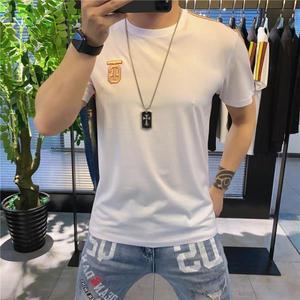 New ice silk short sleeve T-shirt men's trend slim personality fashion printing men's half sleeve jacket