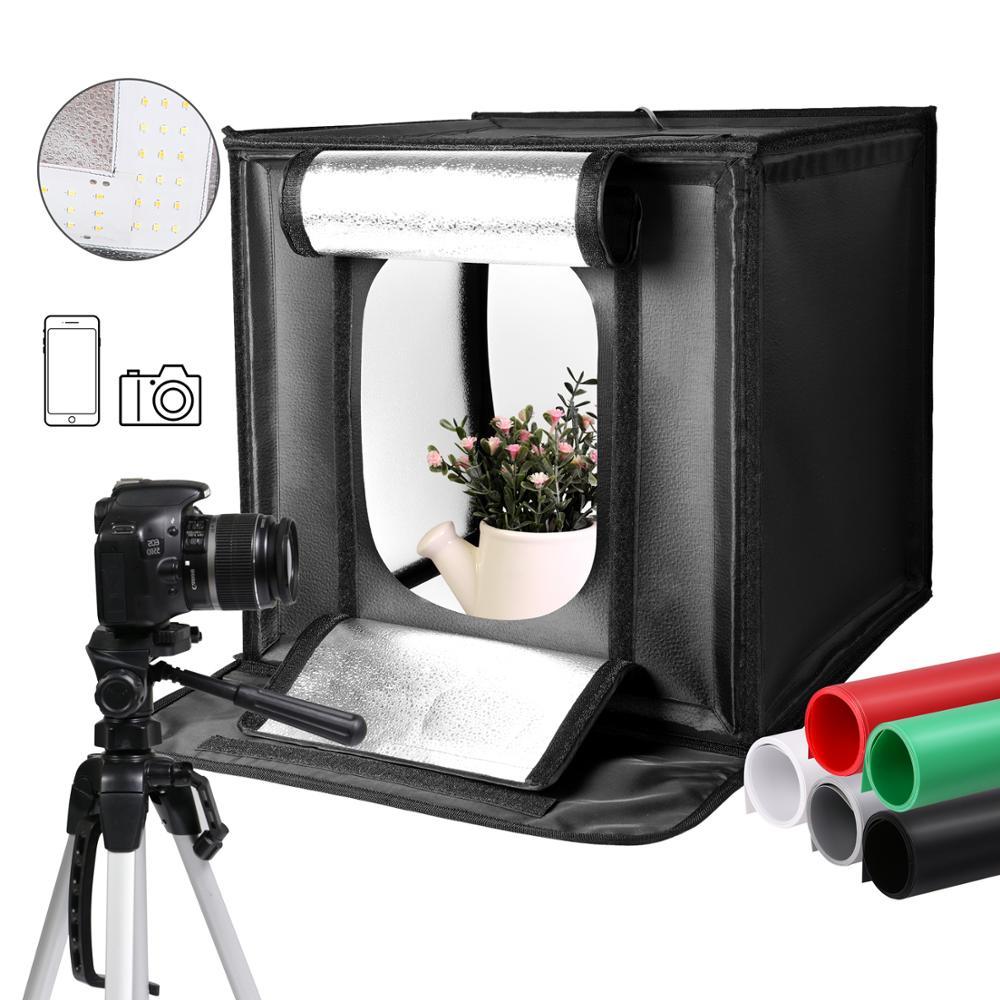40cm * 40cm 15,5 pulgadas LED plegable estudio fotográfico Softbox caja de luz carpa blanca Verde Negro Fondo accesorios caja Luz