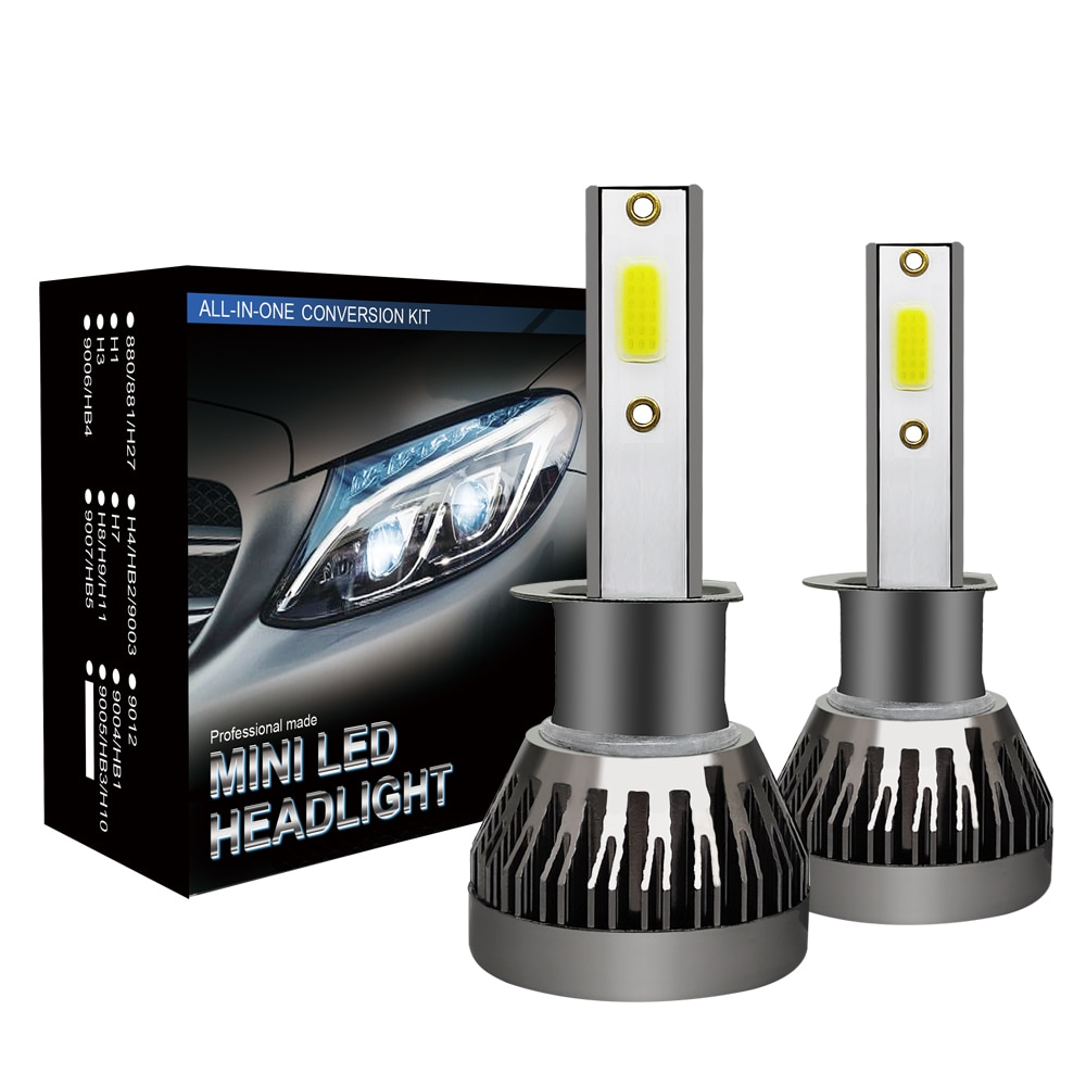 2PCS 6000K CSP LED Car Headlight Bulbs 6000Lm/pc H1 H4 H7 H11 9005 9006 9012 Auto Car Headlight Bulb Bullet Head Lamps