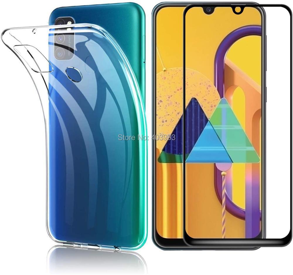 Para Samsung Galaxy M21 funda de teléfono Samsung M11 M31 de lujo suave TPU con vidrio templado Samsung Galaxy M11 M21 M215F M115F