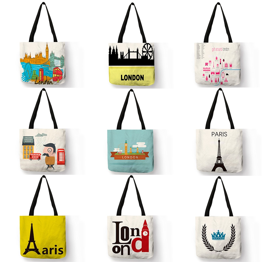 Bolso de lino de diseño exclusivo Sac A Main London River Paris, bolsa de hombro estampada con paisaje, práctico bolso femenino