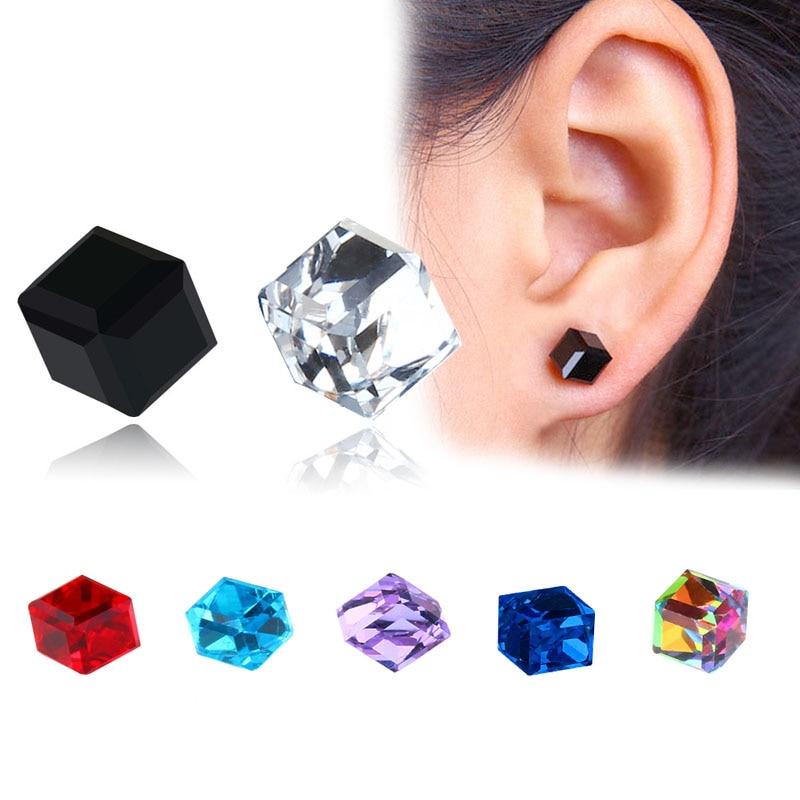 1 paire santé aimant Cube zircon cubique cristal boucles doreilles sans oreilles percées forte magnétique fer boucles doreilles pour les femmes