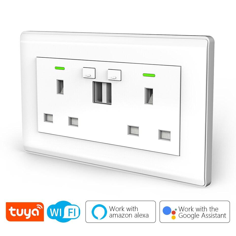 CBE UK Tuya WIFI مقبس الحائط الذكي مع منافذ USB شاحن 10A التحكم عن بعد العمل مع أليكسا جوجل المنزل