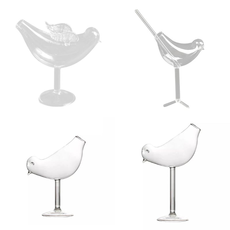 150 ml criativo pássaro forma cocktail taça de vidro personalidade molecular fumado