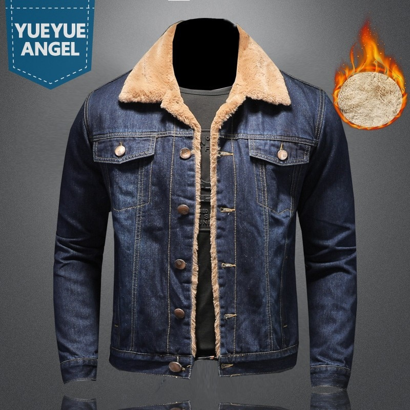 Thicken Denim Coat Mens Clothes Plus Size 5XL Casual Jacket Vintage Winter Warm Fleece Coats Men Cla