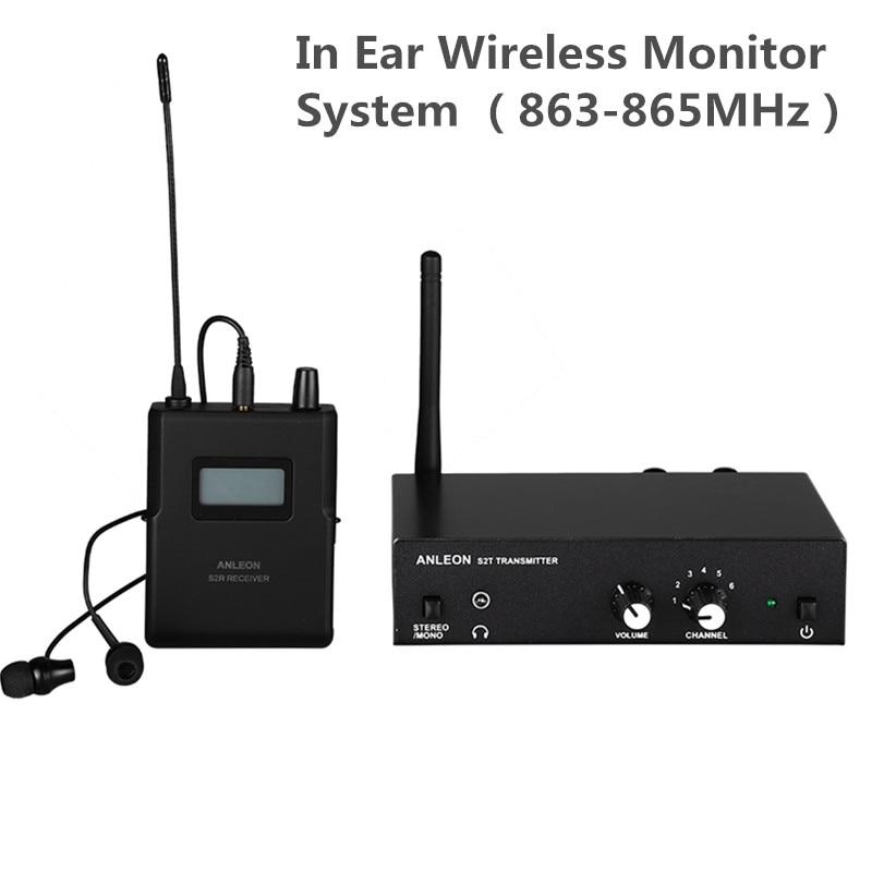 ANLEON S2 نظام مراقبة لاسلكية داخل الأذن UHF ستيريو IEM نظام مراقبة المرحلة 863-865Mhz NTC هوائي Xiomi