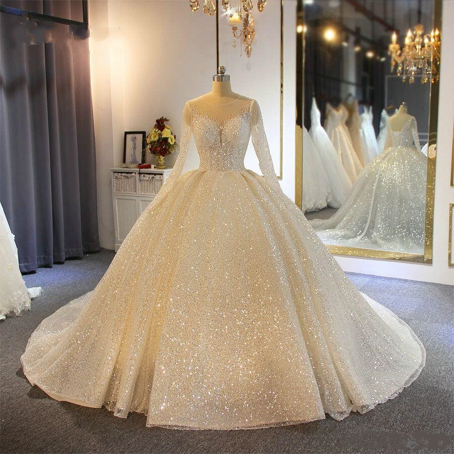 Sparkling Ball Gown Wedding Dresses Sheer Jewel Neck Appliqued Sequins Long Sleeves Bridal Gowns Custom Made