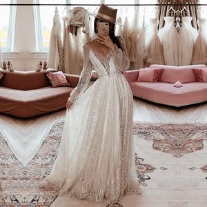Eightale Elegant Evening Dresses 2020 V-Neck A-Line Long Sleeves Dubai Arabic Long Party Graduation Custom Made Prom Gown