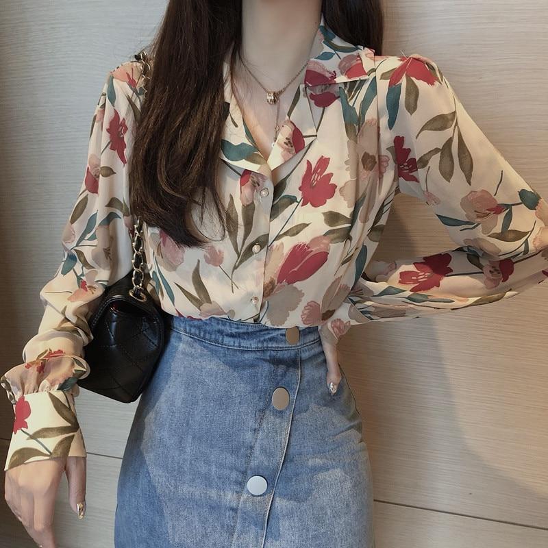 Vintage floral verão camisa feminina manga longa chiffon blusa coreano moda elegante senhoras blusa camisas