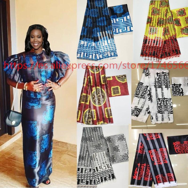 O Projeto bonito Imitado Tecido De Seda Tecidos Ancara Nigeriano Africano Estampas de Cera Tecido Estampado Africano Para O Partido 6 metros! J52602