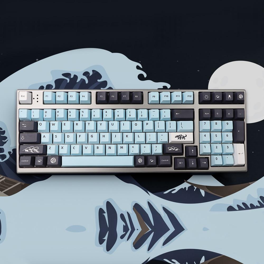 132 Keys Mizu Keycap Set Cherry Profile PBT Keycaps Set for 61/64/68/KBD75/84/RK836/87/96/980/104/108 Mechanical Keyboard Keycap