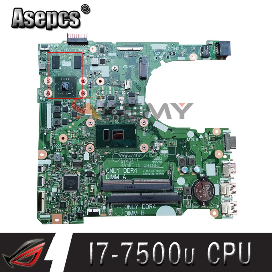 Akemy لديل انسبايرون 3568 اللوحة المحمول مع SR2ZV I7-7500u CPU DDR4 15341-1 91N85 CN-0TR3JC 0TR3JC R5 M330