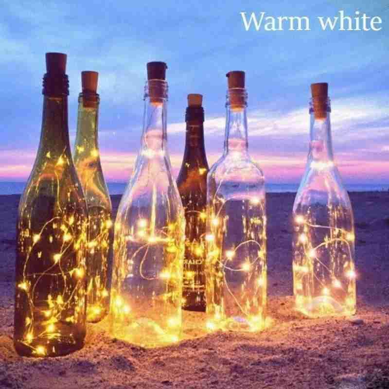 10 Led Solar vino corcho botella guirnalda de luces de hadas para Bar cumpleaños fiesta Navidad habitación lámpara con alambre de cobre tira decorativa