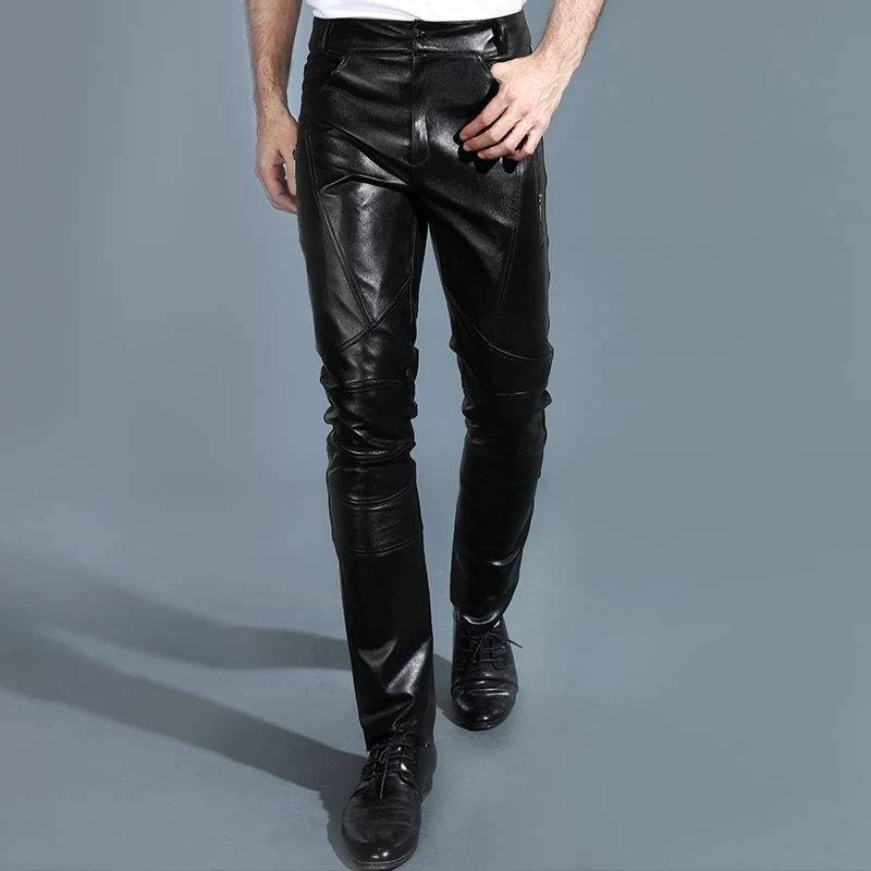 Men Genuine Leather Pants Autumn Winter Fashionable Slim Leather Trousers The First Layer Cowhide Fleece Leather Pants Youthful