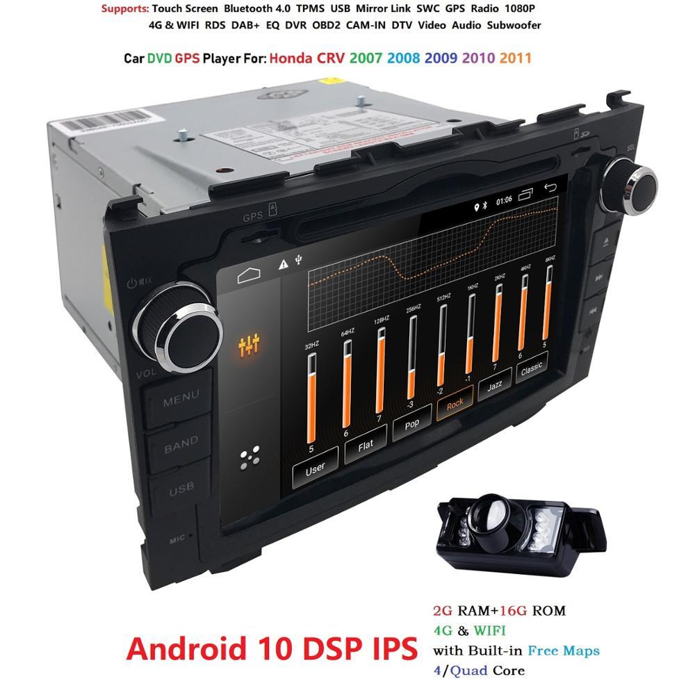 Hizpo Android10.0 2 din For Honda CRV CR-V 2007-2011 Car DVD Navigation GPS HD Radio wifi obd2 playper rds video glonass usb DAB