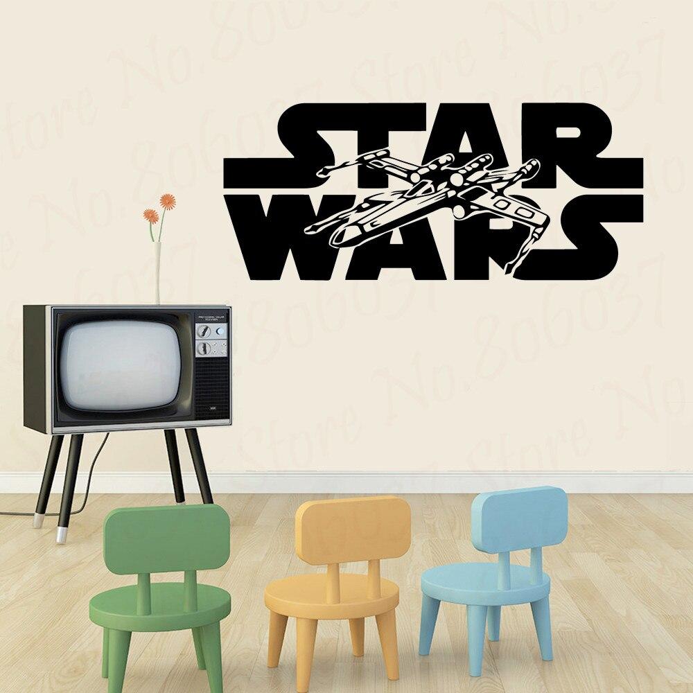 Gran oferta, pegatinas de pared de Star Wars Para habitación, papel tapiz de vinilo con cita para habitación de niños, pegatinas de pared de STAR Wars WL1583