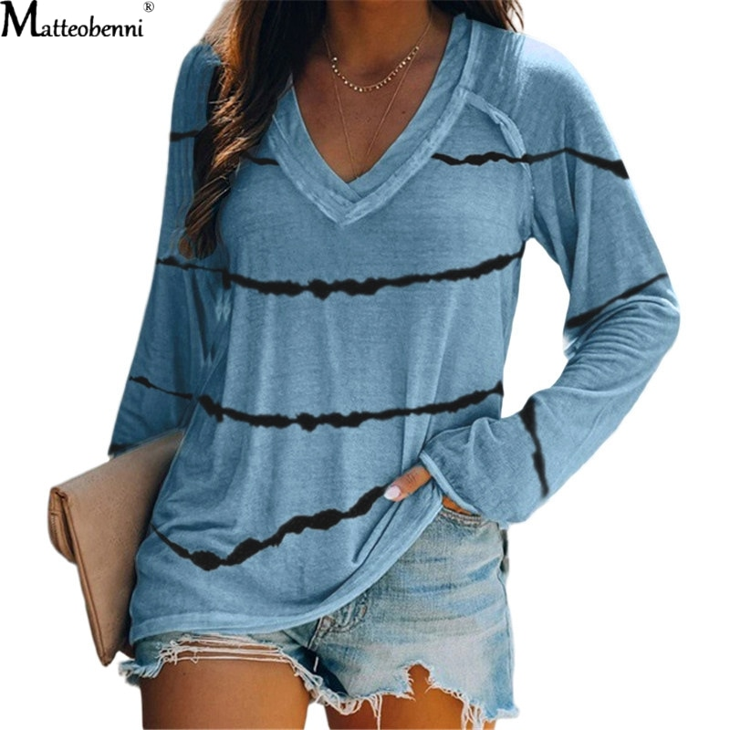 Autumn Women Sexy V-Neck Tie-dye Stripes Print T Shirts Long Sleeve Loose Pullover T-Shirt Fashion Basic Casual Tops Plus Size