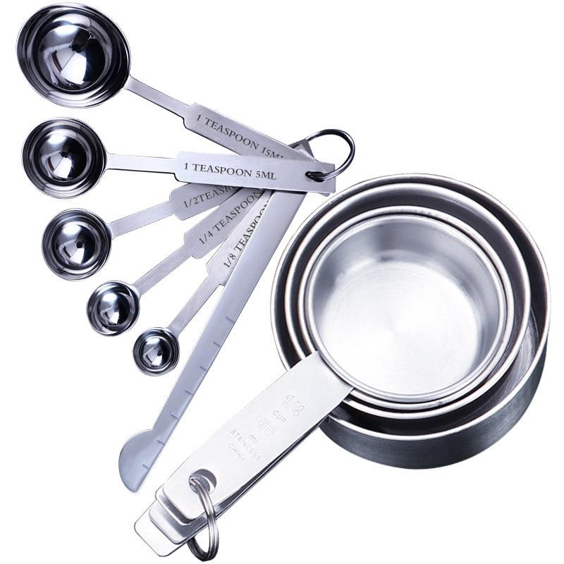 UPORS-Juego de tazas y cucharas de medición de acero inoxidable, primera calidad, apilables, herramientas para el hogar, accesorios de cocina, 8/10 Uds.